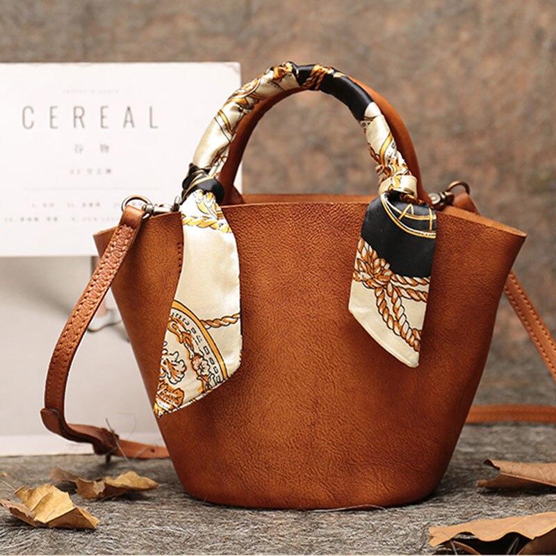 New 2018 Vintage Genuine Leather women Bucket Simple Retro design small handbag scraf mini Lady Tote Shoulder Crossbody Bags