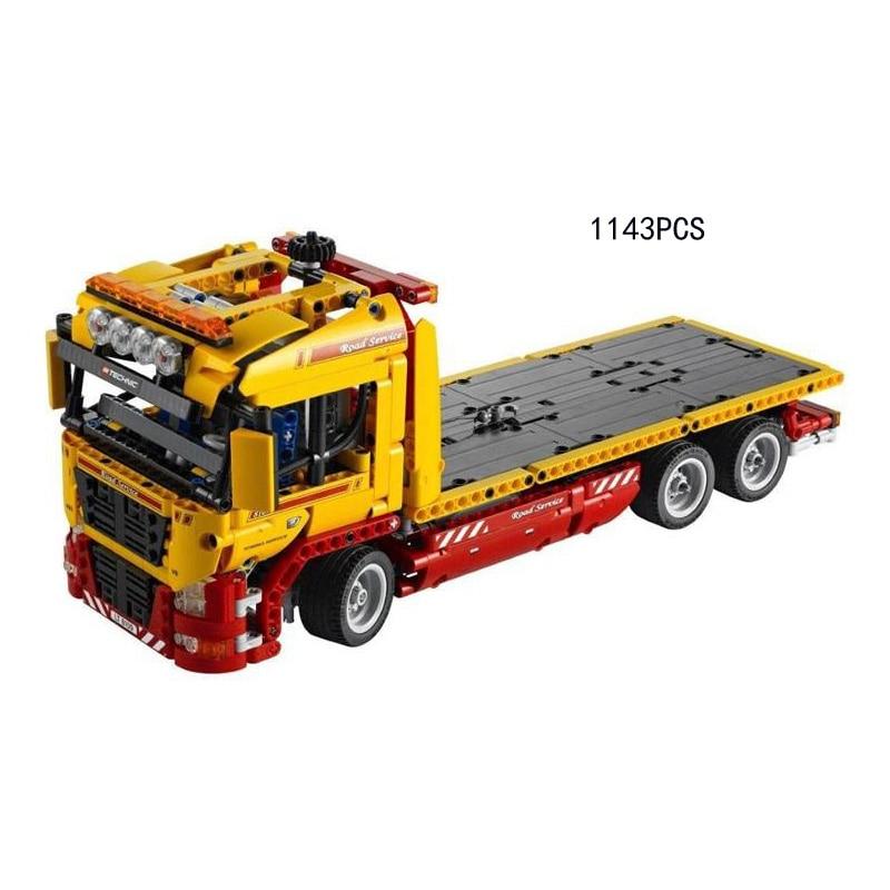 Classique technique technican Véhicule Lourd À Plat remorque camion building block modèle avec moteur lepine briques 8109 électrique jouets