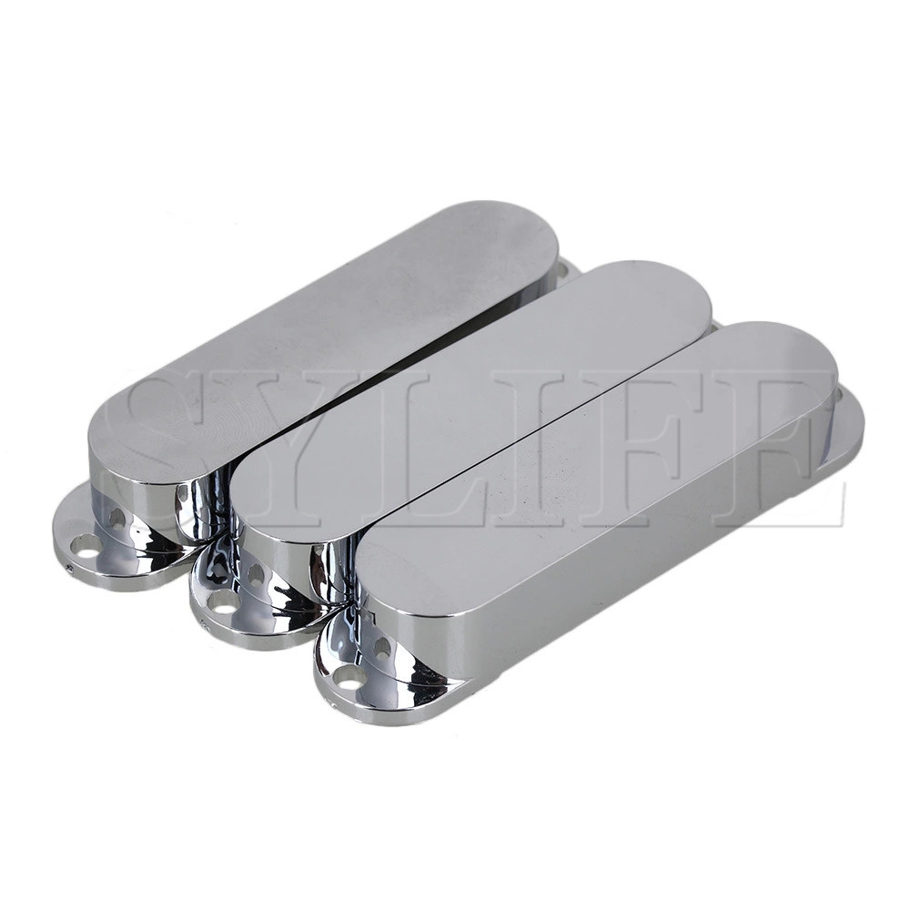 3pcs 82x18mm Silver Plastic Closed Electric Guitar Single Coil Pickup Covers