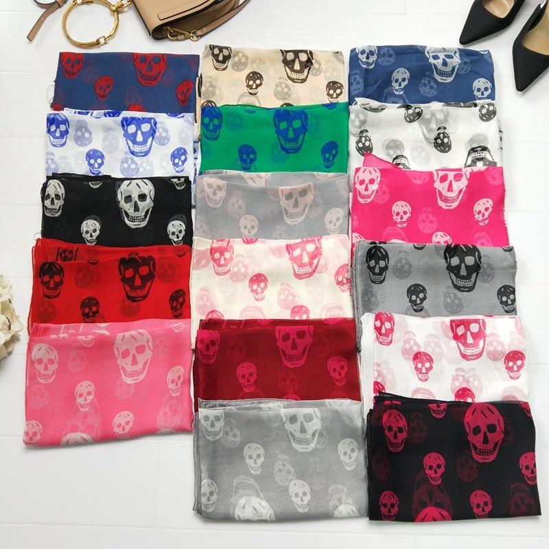 Skull Head Scarf Women 140*140 cm Silk Printing Large Women Shawls Wraps Handmade Hemmin ...