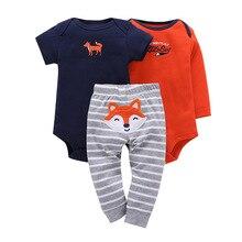 3 pcs תינוק ילד ילדה כותנה בגדי סט ילדים בגד גוף תינוקות חמוד קריקטורה עגול צוואר Rompers ארוך שרוול מכנסיים 6 24Months
