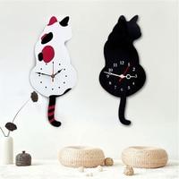 الكرتون لطيف القط الاكريليك ساعة الحائط كتم حركة الأطفال نوم الإبداعي الديكور يهز الذيل سوينغ بلا أثر الأظافر