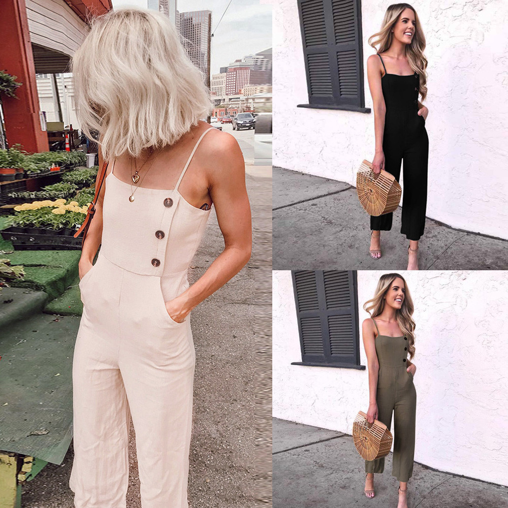 2019 Women Sleeveless Button Jumpsuits Overalls Bib Pants Dungaree Trousers 3.20 Price $17.04