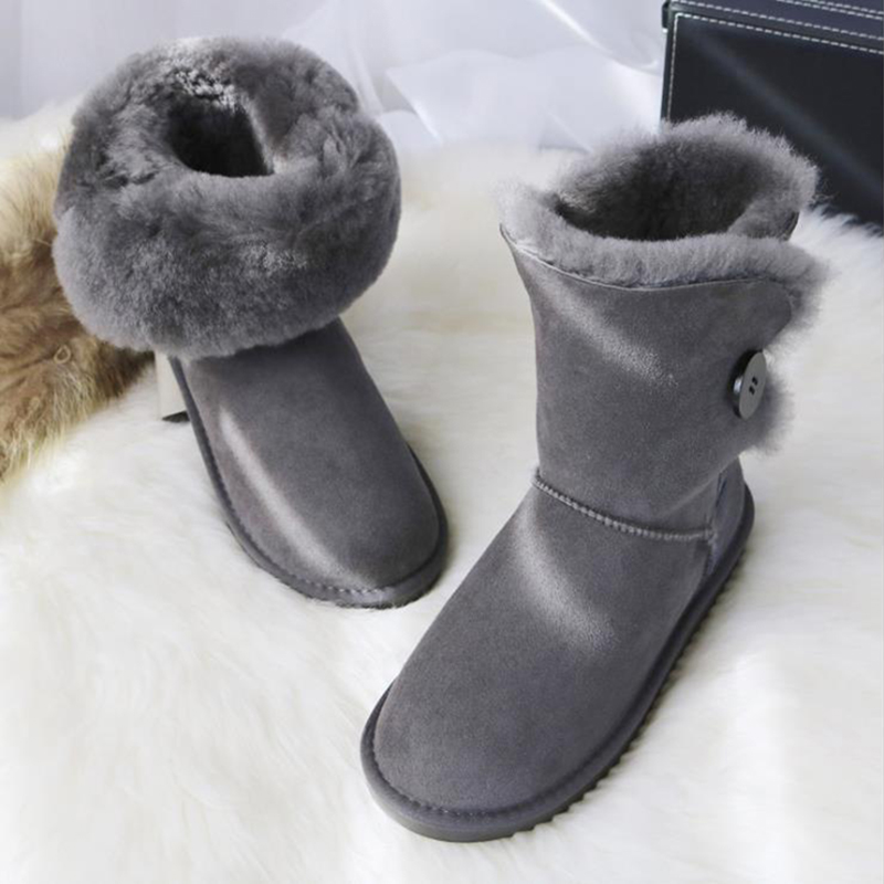 Free shipping! Classic Nature fur Wool real sheepskin leather snow boots for women winter shoes High Quality