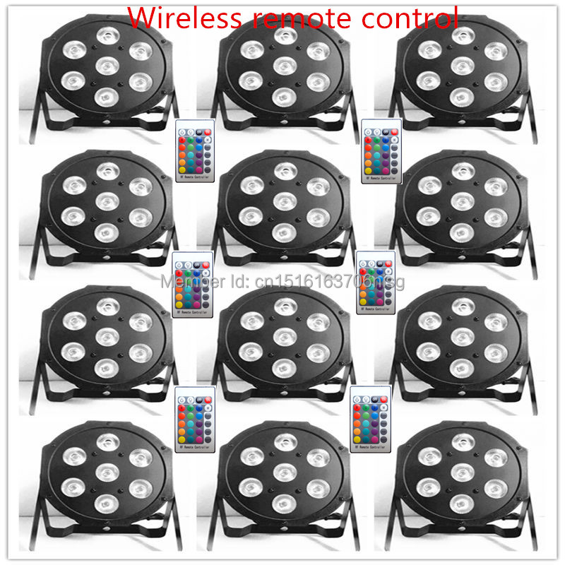 ФОТО 12pcs/lot Free&Fast shipping Wireless remote control the brightest 4/8 dmx Channels Led Flat Par 7x12W RGBW 4IN1