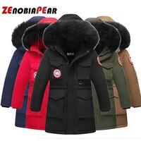 Children boy winter jacket real fur hooded long coat parka kids big school 5 14 teens boy 30 Russia winter clothing overcoat