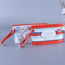 Мультфильм печати влажные салфетки мешок многоразовые влажные салфетки крышка контейнер для влажных салфеток уход за кожей путешествия салфетки мешок