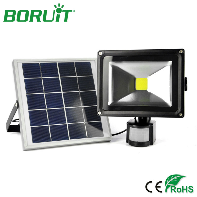 BORUiT 20W LED Solar Lamp PIR Motion Sensor Wall Lamp Garden Waterproof Outdoor Solar LED Spot Flood Light Street Lawn Lamps ds 360 solar sensor led light black