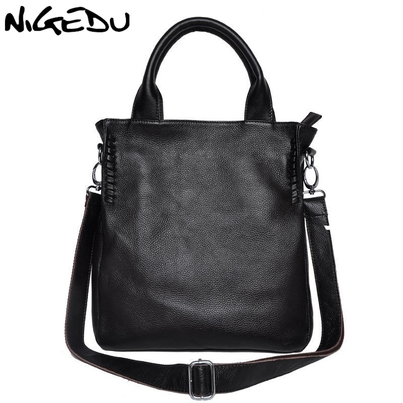 цена на NIGEDU brand design Genuine Leather bag women handbag Large Luxury Hobo Messenger Shoulder bag big Tote Bags Ladies Handbag