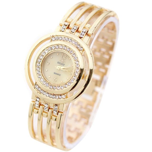 New 2017 Fashion Casual Clock Gold Bracelet Watch Women Rhinestone Watches Women