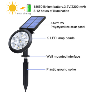 Image 3 - Upgraded Solar Spotlights Waterproof Adjustable 9 LED Wall/Landscape Solar Lights Colorful Solar Lamp for Yard Lawn Garden