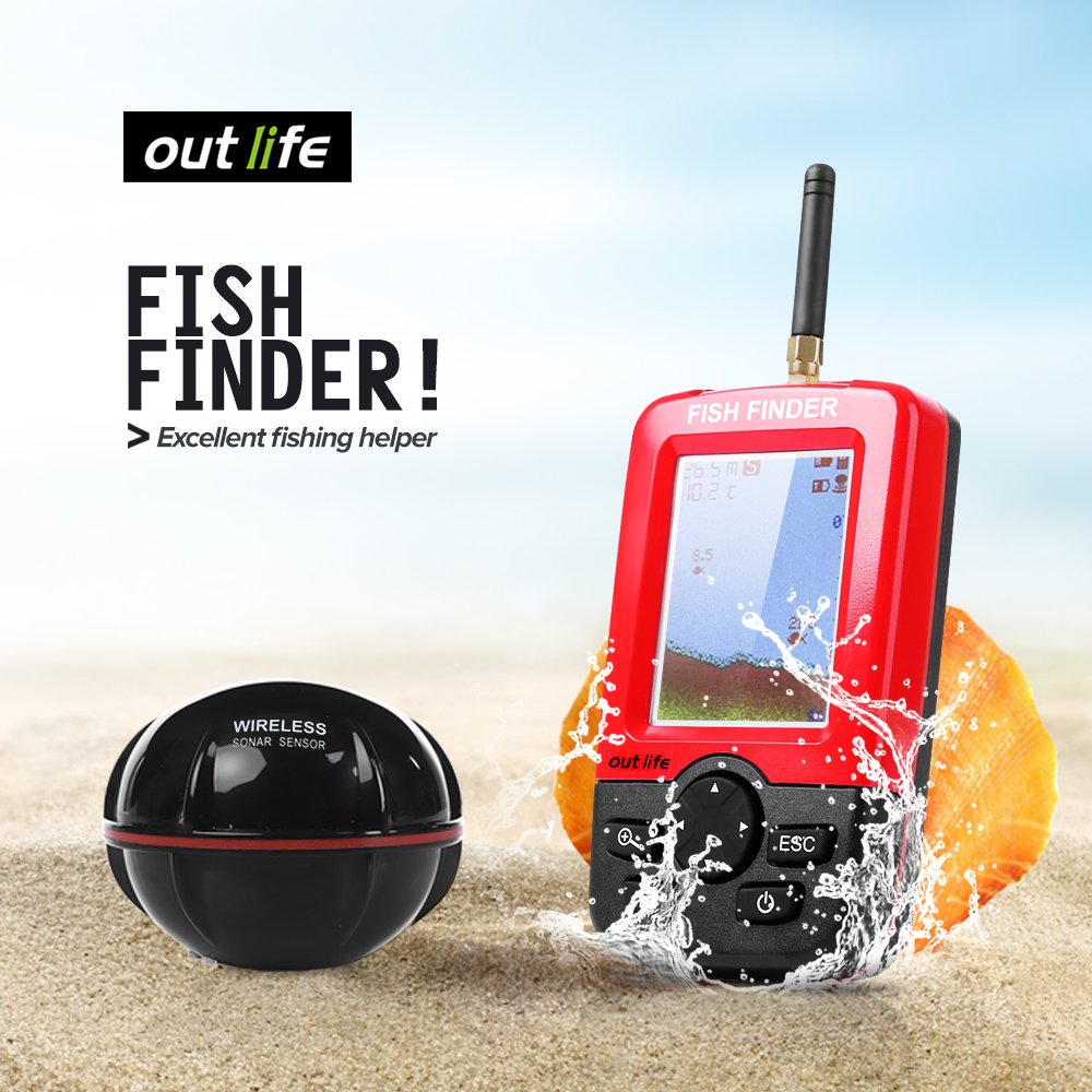 Outlife Smart Portable Depth Fish Finder with 100 M Wireless Sonar Sensor echo sounder Fishfinder for Lake Sea Fishing new k5 led usb hat led light lamp flexible variety of colors for notebook laptop pc computer blue white yellow