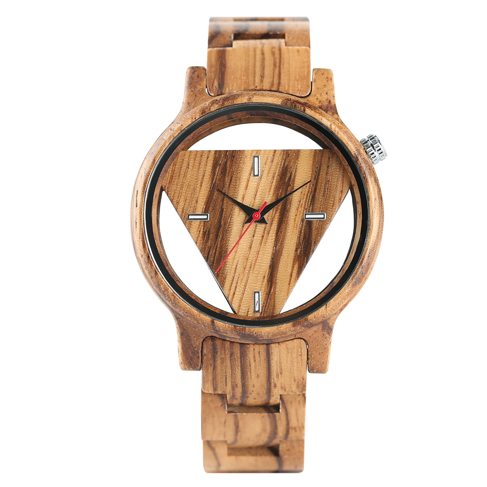 Zebra Wood Watch Full Wooden Hollow Design Men Quartz Wristwatch Simple Triangle Dial Bracelet Hand-made Wood Male Watch Gift simple minimalism casual men quartz wristwatch number dial genuine leather band cost effective natural wooden design male watch