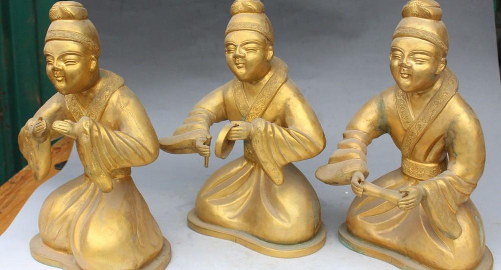 11 Chinese Folk Brons Gild Seat Belle Beauty Muziekinstrumenten Qin Standbeeld Set - 5