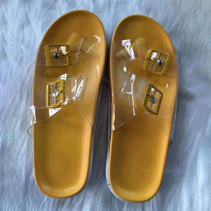 קיץ אישה שטוח כפכפים שקוף מפלסטיק רך ג'לי נעל נשים חגורים באקל Flip צונח נשים חיצוניות חוף גבירותיי שקופיות