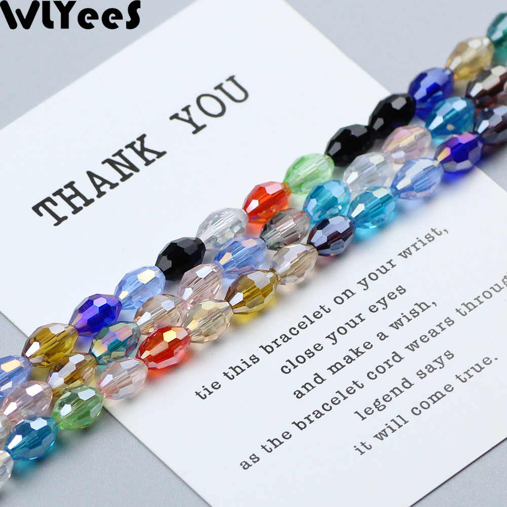 WLYeeS 6*8mm Rice grains shape Austrian crystal 50pcs Oval Glass Mix Color Loose beads for DIY Jewelry Necklace Bracelet Making