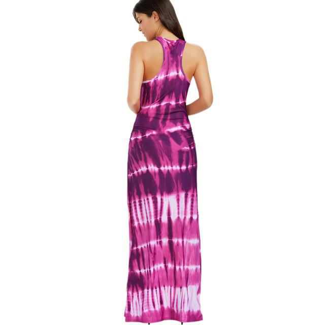AZULINA Maxi Boho Dress Women Sleeveless Bohemian Tie-dye Illusion Print Long Summer Dress Beach Dress Ladies vestidos de festa