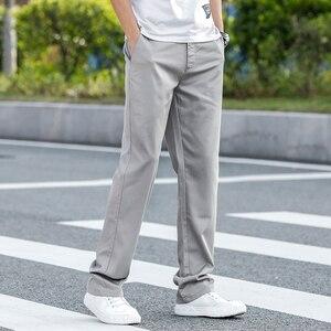 Image 3 - 2020 letnie nowe męskie Khaki cienkie spodnie na co dzień Business Fashion Solid Color wysokiej jakości proste spodnie bawełniane męskie marki