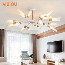 AIBIOU Modern Led Chandelier With Glass Lampshade For Living Room Wooden Lustre Chandeliers Luminaire Bedroom Lustres