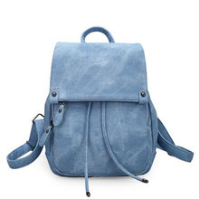 New PU Leather Schoolbags Women Backpack Female Backpacks Retro College Leisure Travel Bag Mochila(China)