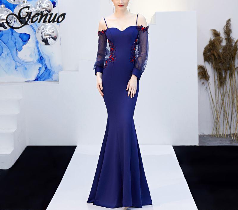 2019 Vestidos Maxi Robe Sexy femmes soirée sirène Robe maille lanterne manches fleur formelle Robe de soirée élégante longue Robe Femme