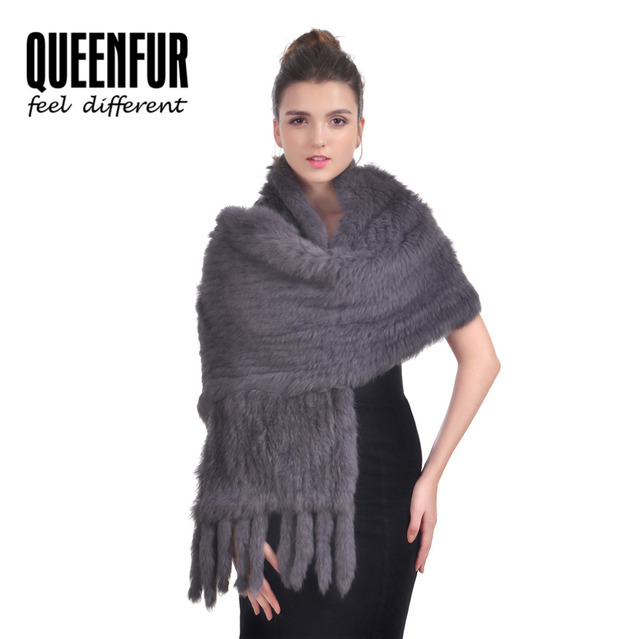2016 New Real Rabbit Fur Scarf For Women Natural Knitted Rabbit Fur Poncho With Tassel Genuine Luxury Fur Shawl 170cm Length