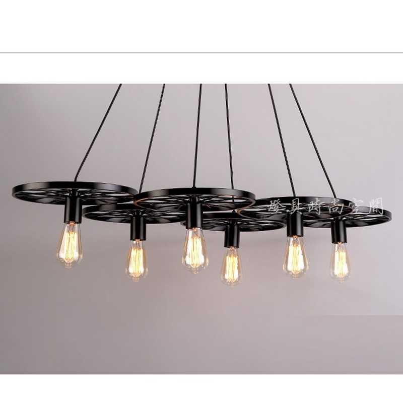 LukLoy промышленное освещение, Скандинавское железное колесо Ktchen люстра Ретро лампа Эдисона светящаяся гирлянда для дома столовой