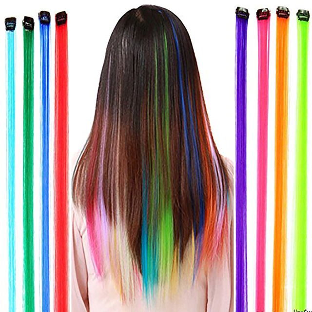 Aosiwig 1 Clip In One Piece Hair Extensions Synthetic Pure Color