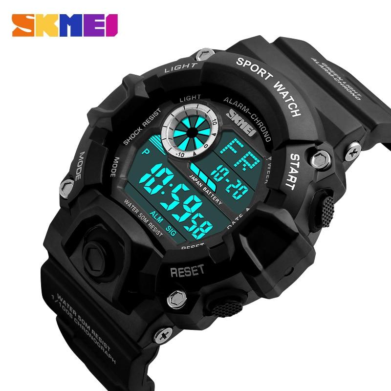 Skmei marca de luxo choque masculino relógios esportes camuflagem militar relógios à prova dwaterproof água led digital relógios pulso relogio masculino