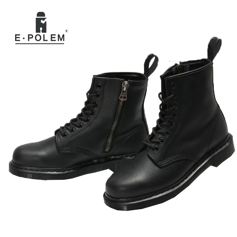 New England Style Tide Fashion Black Genuine Leather Martin Boots Unisex Brand Motorcycle Boots High Upper Ankle Martin Boots