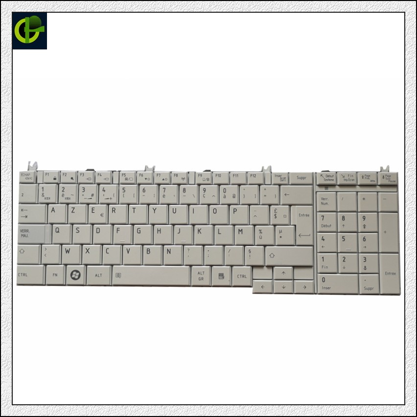 French Azerty Keyboard For Toshiba Pro L770-10T L770-10W L770-10X L770-126 C670-166 C670-111 C670-11D FR White