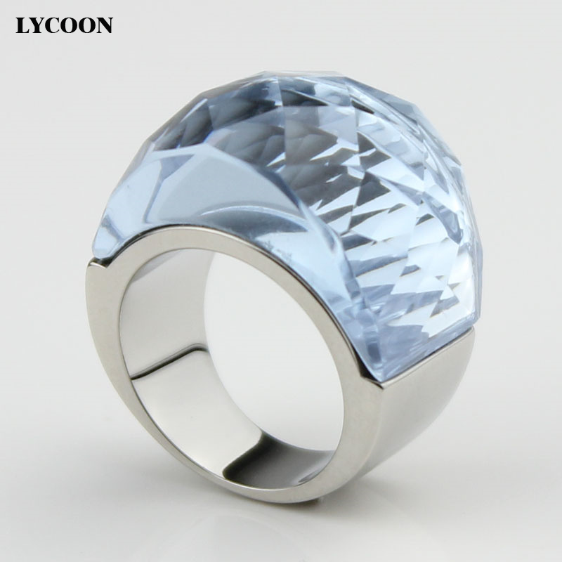 LYCOON 100% 316L stainless steel never change color big crystal ring in light purple for women ксения крот цепочки первое знакомство page 8