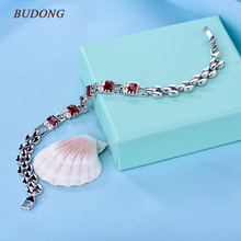 BUDONG New Luxury Bracelet for Women White/Red Teardrop Crystal Silver/Gold-Color Bangle Wedding Jewelry XUL175