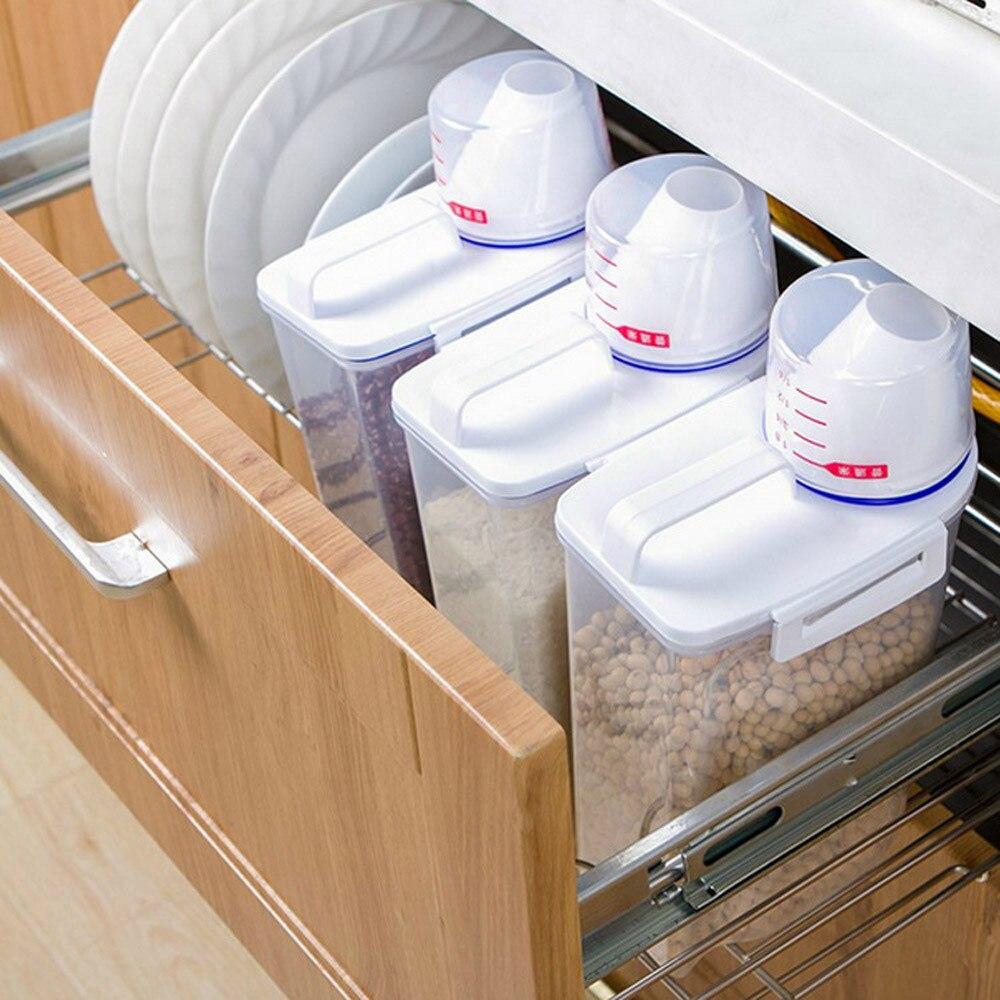 Cereal-Dispenser-Storage-Box Rice-Container Food-Grain-Rice Plastic Kitchen 2L Nice 15--7.5--29cm