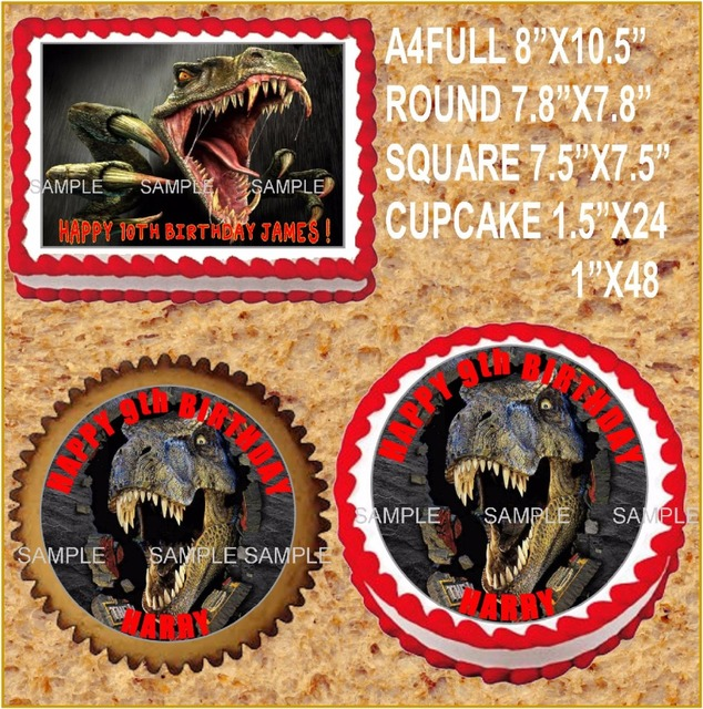 T Rex Dinosaur Edible Cake Topper Wafer Rice Paper Decoration Custom Birthday Decor Cupcake