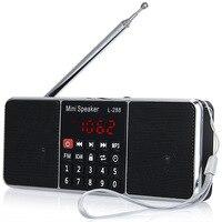 L-288 البسيطة المحمولة راديو fm سماعات مشغل موسيقى مع tfcard مكبر usb قرص شاشة lcd التحكم قابلة