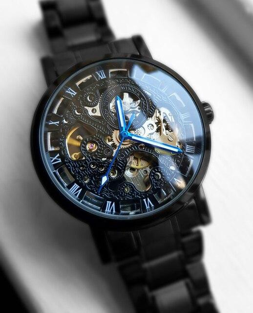 Winner Transparent Steampunk Montre Homme Black Retro Casual Mens Watches Top Brand Luxury Full Steel Skeleton Mechanical Watch 4
