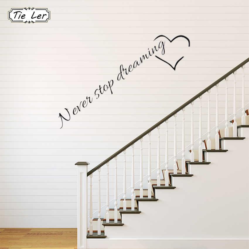 Наклейки на стену с надписью «Never Stop Dreaming», Наклейки для декора комнаты в спальню, домашний декор, наклейки для стен, наклейки из ПВХ