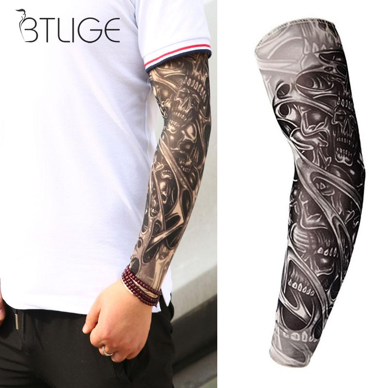 Cool Tattoo Sleeves Arm Warmer Unisex Cycling Running Sun UV Protection Outdoor Temporary Fake Tattoo Arm Sleeve Warmer Sleeve image