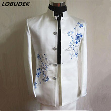 men costumes suit Blue white porcelain stand collar men's clothing set costume for singer wedding prom party formal groom dress