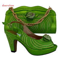 doershow 5 different color available fashion Italian matching shoe and bag set for party African ladies heels slipper !HVB1 6
