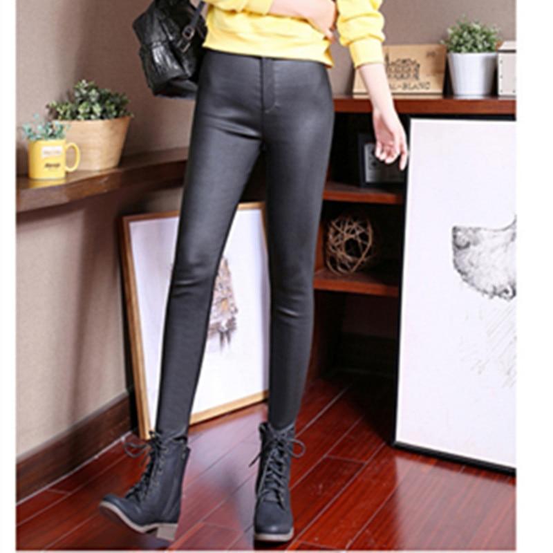 2018 printemps automne mince enduit pantalon en cuir artificiel femme slim Leggings porter jeans femmes jambières d'exercices - 5