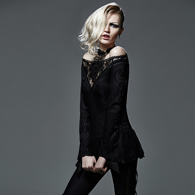 Gothic Strapless Deep V Neck Hollow Out T-Shirt Steampunk Black Sexy Off Shoulder Lace Tee Shirt Tops