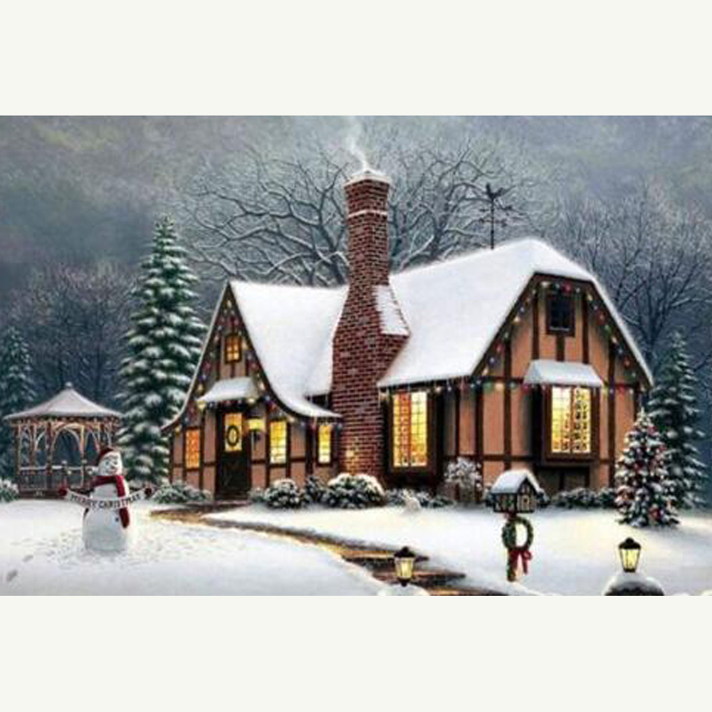 Cross Stitch Kit DIY Diamond Embroidery cottage in the snow Full Square/round Diamond Painting Mosaic Home Decor