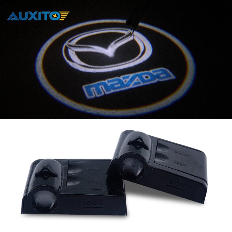 LED Car Door Logo Ghost Shadow Light For <font><b>Mazda</b></font> <font><b>3</b></font> spoilers axela 6 radio cx-5 cx7 rx8 atenza miata premacy mpv cx5 cx-7 cx-9323f