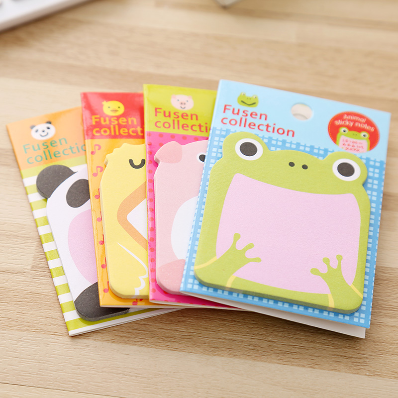 Image 4 - 48 pcs/Lot Animal sticky note Time schedule memo card Adhesive post sticker Frog rabbit Office material school supplies F547schedule memoanimal sticky notessticky notes -