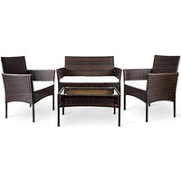 4pcs Rattan Patio Furniture Set, Outdoor Furniture Set Clearance with Cushioned Wicker Sofa &Glass Coffee Table Lawn Furniture