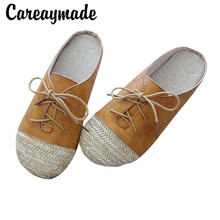Careaymade-New Literary and artistic Summer Womens Slippers,hand-sewn  Laces Flat-soled leisure Fashion Student Shoes