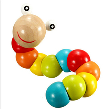 2016 NEW Insert Puzzle Kids Educational Wooden Toys Baby Children Fingers Flexible Training Science Twisting Worm Toys