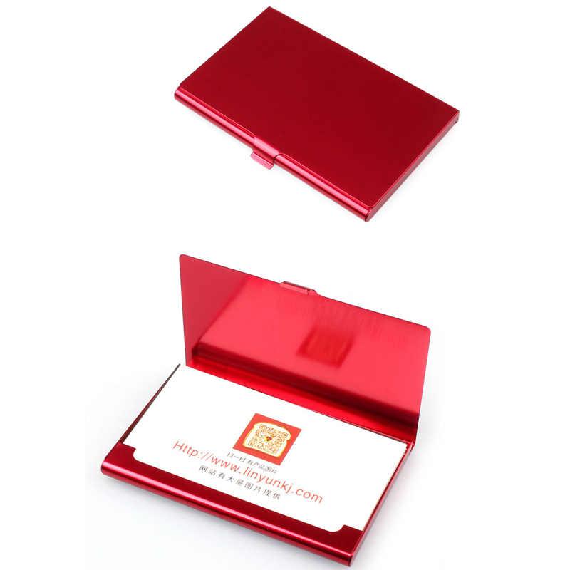 Funda de tarjeta de visita Casual creativa de acero inoxidable soporte de aluminio tapa de caja de Metal crédito hombres titular de tarjeta de negocios Cartera de Metal